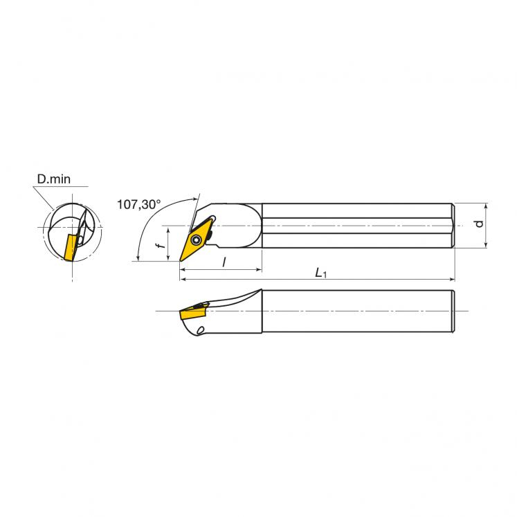 Portainserti di tornitura interna per inserti positivi KERFOLG TURN - Forma V - A….SVQBR/L