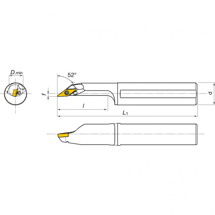 Portainserti di tornitura interna per inserti positivi KERFOLG TURN - Forma V - AH….SVJCR/L
