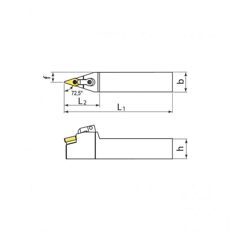 Portainserti di tornitura esterna per inserti negativi KERFOLG TURN - Forma V - MVVNN
