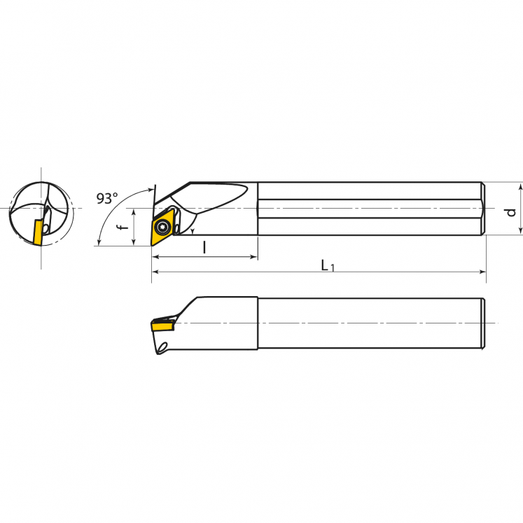 Portainserti di tornitura interna per inserti positivi KERFOLG TURN - Forma D - E….SDUCR/L