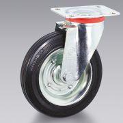 Ruote in gomma nera disco in lamiera con supporto TELLURE RÔTA Macchine, attrezzi e componentistica 6100 0