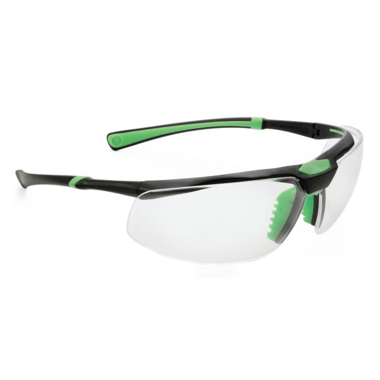 Protective eyewear transparent frame black/green