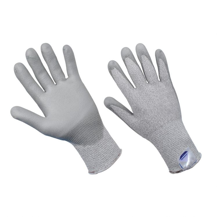 Work gloves in continuous dyneema wire coated in polyurethane