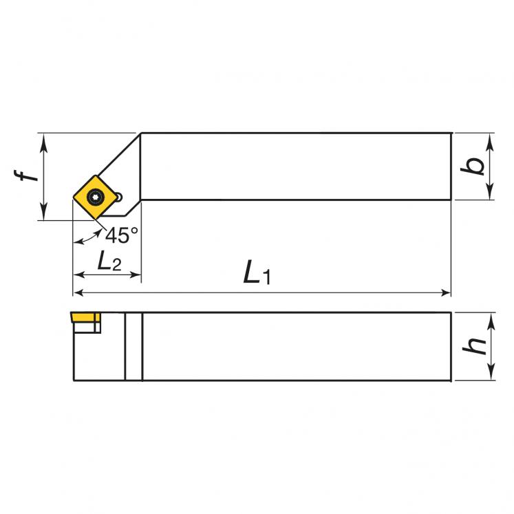 KERFOLG TURN, Wendeplattenhalter für die Außendrehbearbeitung, für positive Wendeschneidplatten - Form S - SSSCR/L