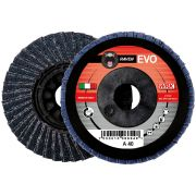 Flap grinding discs with reinforced flat nylon backing in zirconium abrasive cloth WRK RAVEN EVO PLASTICA Abrasives 244835 0