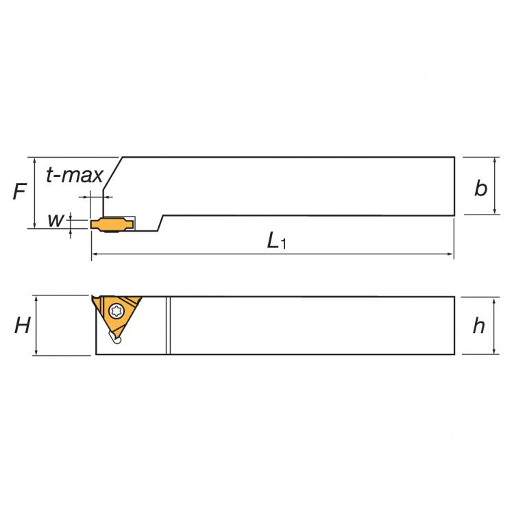 Noże tokarskie do rowkowania zewnętrznego, płytki trójkątne CGER/L KERFOLG TURN